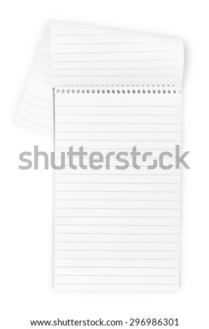 Vertical realistic spiral notepad notebook isolated on white - stock photo