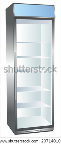Vertical refrigerator showcase for trade refrigerated food. - stock photo