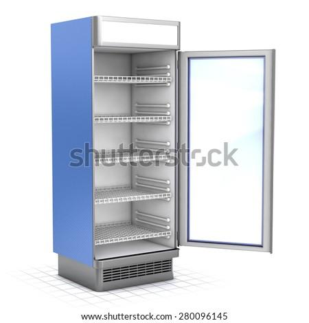 Vertical refrigerator with a glass door open - stock photo