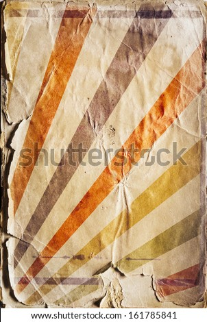 Vertical retro revival sunbeam poster background in color - stock photo