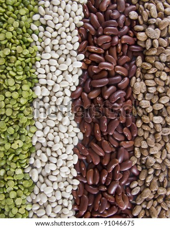 Vertical Row of Dry Beans (Split Pea, Navy, Kidney and Pinto) - stock photo