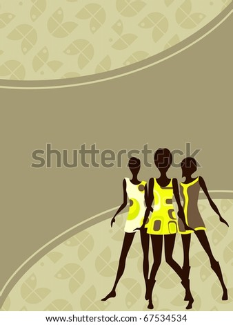 Vertical 1960's retro banner in light colors (jpg); vector version also available - stock photo