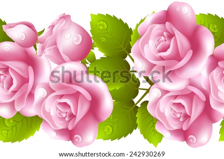 Vertical seamless background with roses. - stock photo