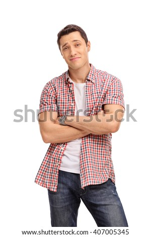 Vertical shot of a confident casual guy with an attitude isolated on white background - stock photo