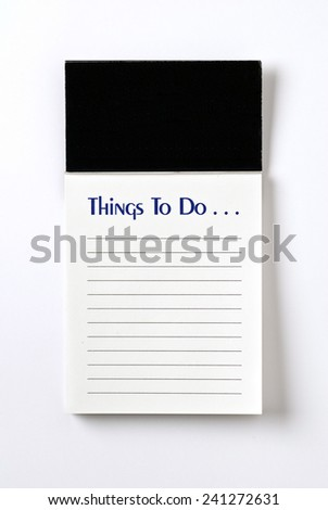 Vertical Shot Of A 'Things To Do' List On White Background With Shadow - stock photo