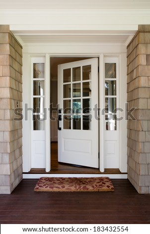 house front door open. Vertical Shot Of An Open, Wooden Front Door From The Exterior Upscale Home House Open O