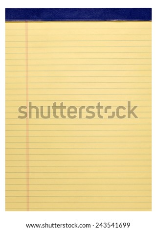 Vertical Shot Of Blank Legal Pad On White Background - stock photo