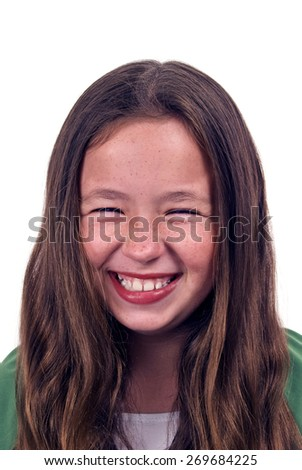 Vertical Shot Of Cute Little Girl Laughing/ Cute Little Girl Laughing On White Background - stock photo