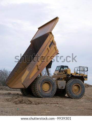 Vertical shot of dumptruck - stock photo