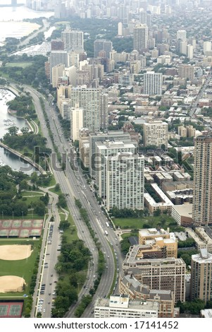 Vertical shot of Lake Shore Drive in Chicago - stock photo
