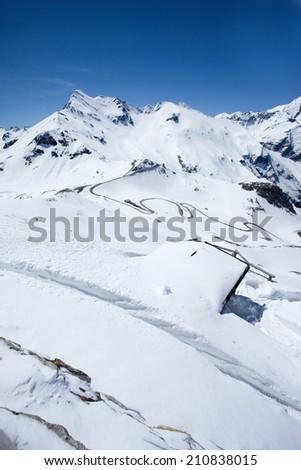 Vertical snowy panorama along the Gross Glockner Alpine road - stock photo