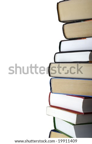 Vertical stack of different books isolated on white background. Clipping path. - stock photo