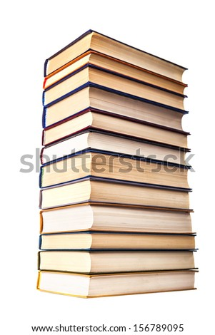 vertical stack of old books textbooks isolated on a white background - stock photo