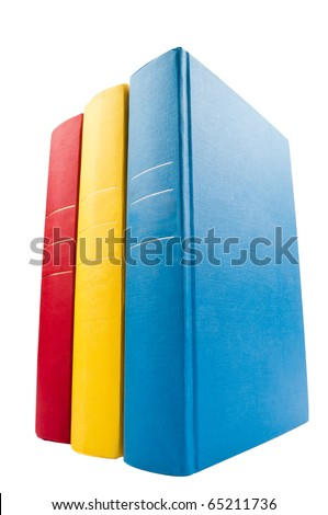 Vertical stack of three books isolated on white background.wide angle. - stock photo
