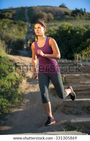 Vertical stairs exercise outdoor morning woman fit jogger running jog path solo