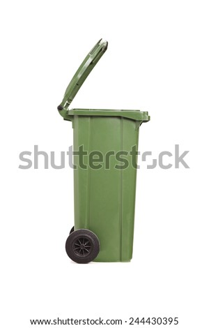 Vertical studio shot of an empty garbage bin isolated on white background - stock photo