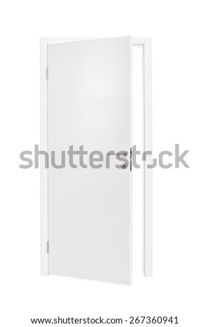 Vertical studio shot of an semi-opened white door isolated on white background - stock photo