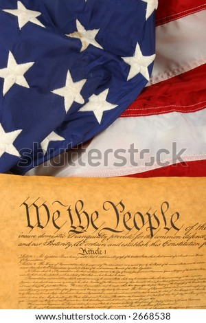 Vertical US Constitution and American Flag - stock photo