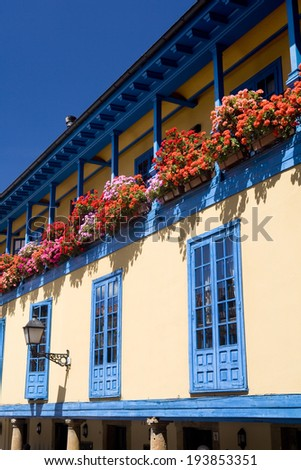 Vertical view of a facade with blue windows and a lot of flowers in Oviedo, Asturias, Spain. Facade with flowers. - stock photo