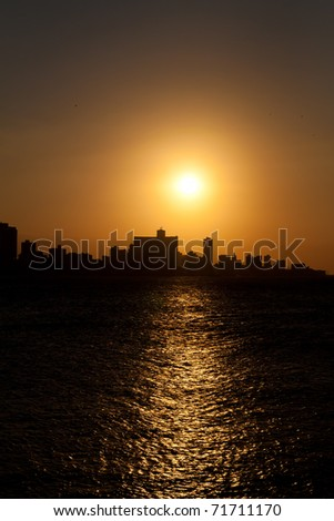 Vertical view of a sunset in Havana - stock photo