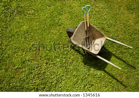 Vertical view of a wheelbarrow, with garden tools, on a green lawn. One or two daisies dot the lawn. Space for text on the green of the grass.