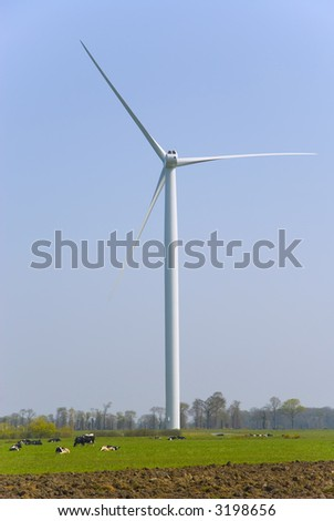 Vertical view of cows in a meadow pasturing  below an horizontal axis three-bladed wind turbine. - stock photo