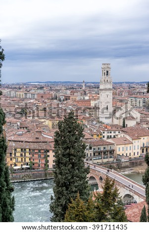 Vertical view of famous city of Verona.