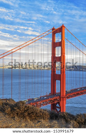 vertical view of famous Golden Gate Bridge in San Francisco, California, USA  - stock photo