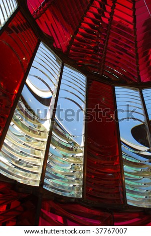 Vertical View of Fresnel Lens Umpquah River Lighthouse, Winchester Bay, Oregon - stock photo