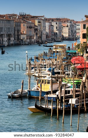 vertical view of Grand Canal in Venice, Italy - stock photo