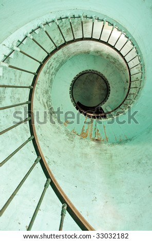 vertical view of hourtin lighthouse spiral staircase, france - stock photo