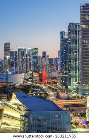 Vertical view of Miami downtown at night - stock photo
