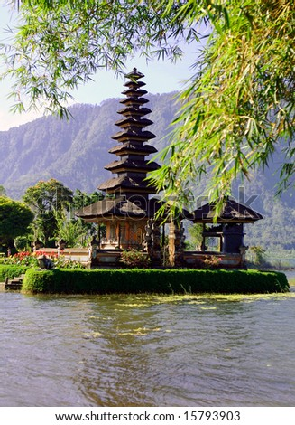 Vertical view of picturesque Balinese temple on lake in extinct volcano crater 2
