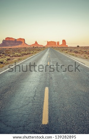 Vertical view of road to Monument Valley, USA - stock photo
