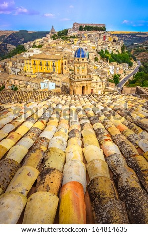 Vertical view of roofs and beautiful village Ragusa in Sicily, Italy - stock photo