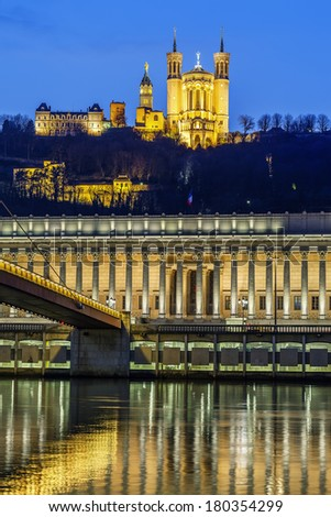 Vertical view of Saone river at Lyon by night, France - stock photo