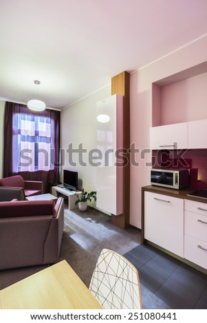 Vertical view of small studio apartment interior
