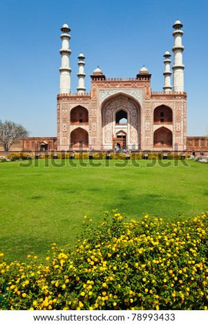 Vertical view of the entrance to the Sikandra in Agra, India, where Mughal Emperor Akbar the Great is buried. - stock photo