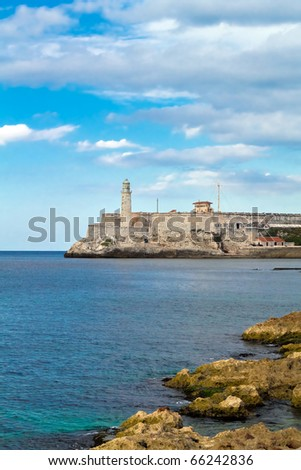 Vertical view of the fortress of El Morro in Havana, Cuba - stock photo