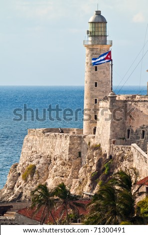 Vertical view of the fortress of El Morro in Havana with a waving cuban flag - stock photo