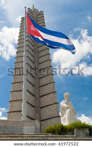 Vertical view of the Jose Marti memorial in Revolution Square at Havana, Cuba