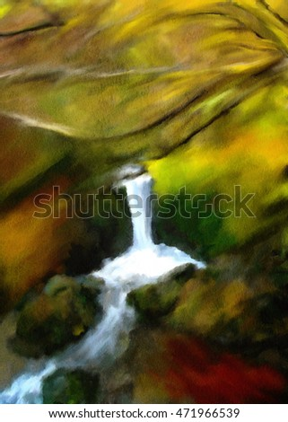 vertical watercolor autumn landscape with small river in the forest