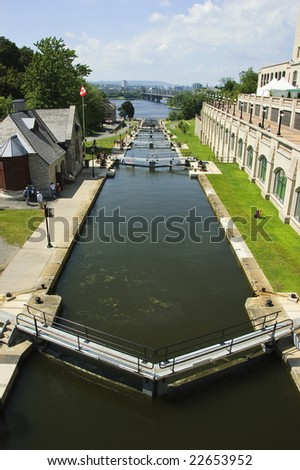 Vertical wide-angle view of Rideau Canal locks