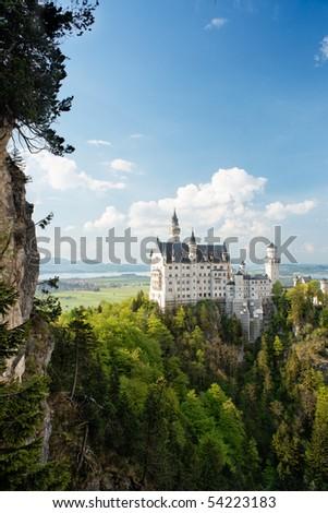 Vertical wide view of Neuschwanstein Castle, Bavaria, Germany. - stock photo