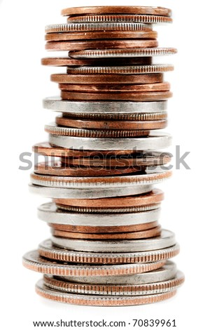 Vertically stacked american coins on a white background. - stock photo
