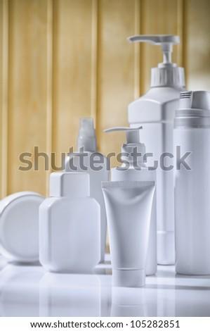 verticla copyspace skincare composition - stock photo