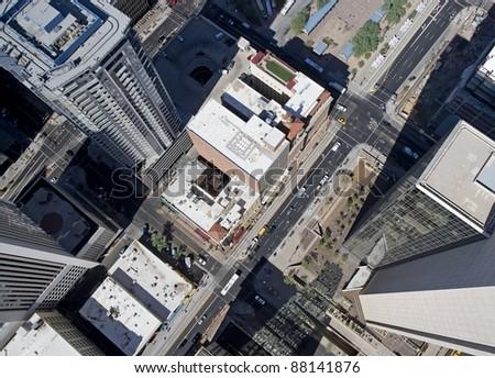 Vertigo view of the center of downtown Phoenix, Arizona - stock photo