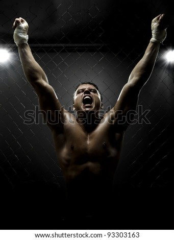 vertrical photo  muscular young  guy street-fighter,  triumphant cries  yell , hard light - stock photo