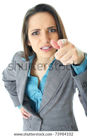 very angry businesswoman point her finger to camera, isolated on white - stock photo