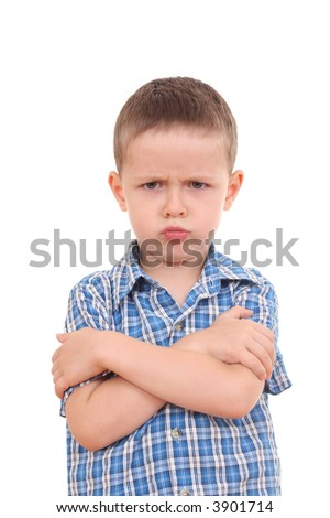 very angry five years old boy isolated on white